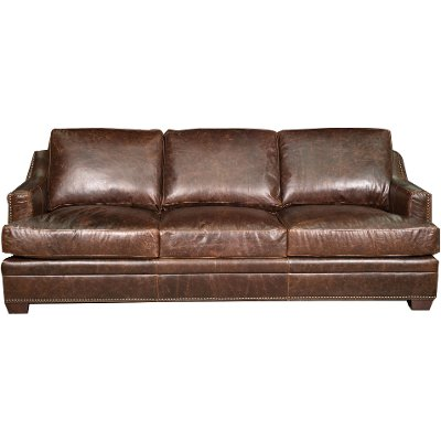 Classic Contemporary Brown Leather Sofa   Antique
