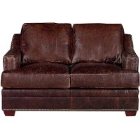 Classic Contemporary Brown Leather Loveseat - Antique