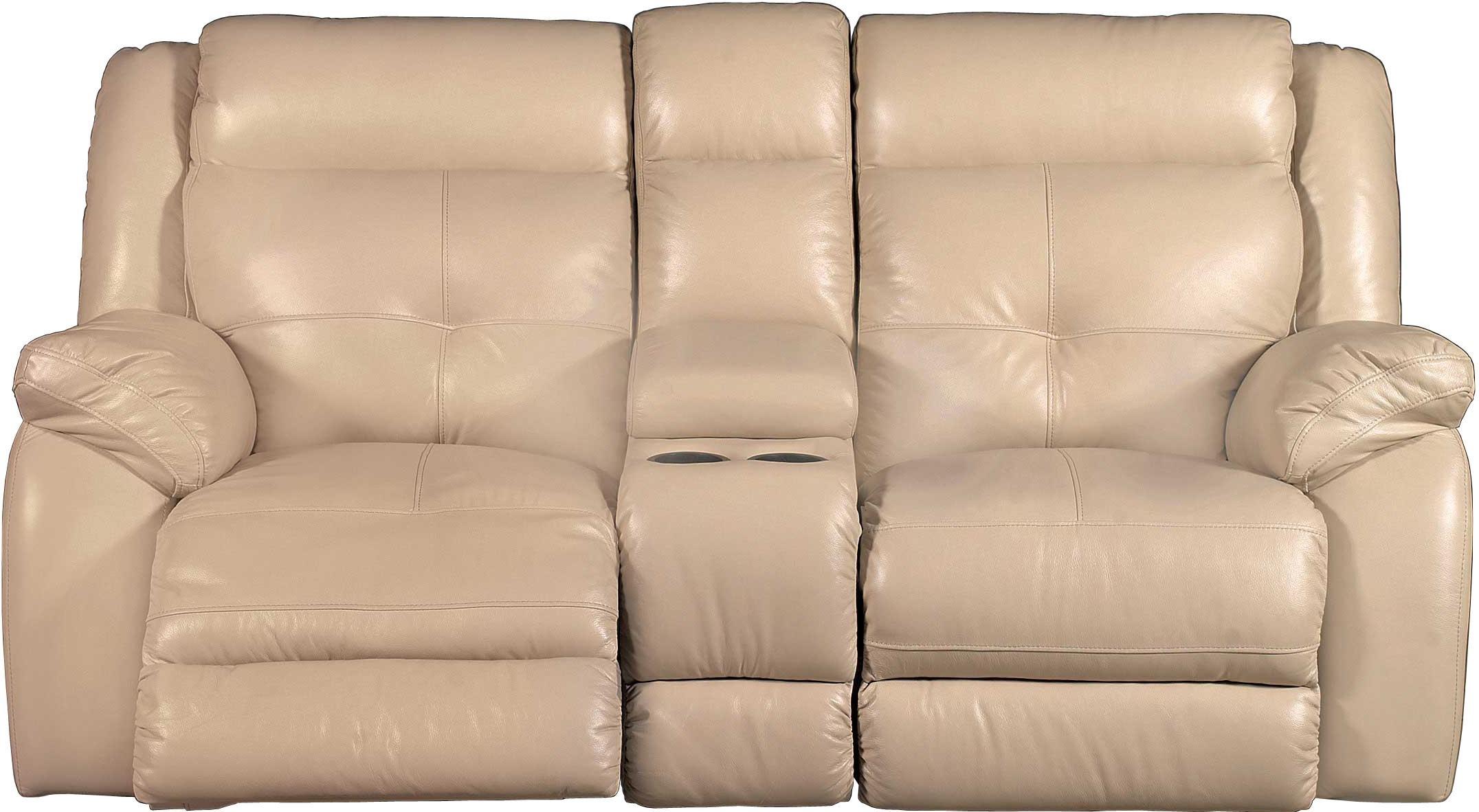 Tan Leather Match Power Reclining Sofa Manual Gliding