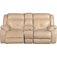 Tan Leather-Match Manual Glider Reclining Loveseat - Nuveau