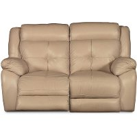 Tan Leather-Match Power Reclining Loveseat - Nuveau