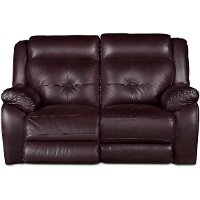 Chocolate Leather-Match Power Reclining Loveseat - Nuveau