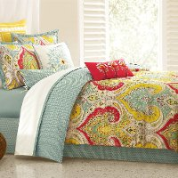 Green, Yellow and Red Queen Echo Bedding Collection