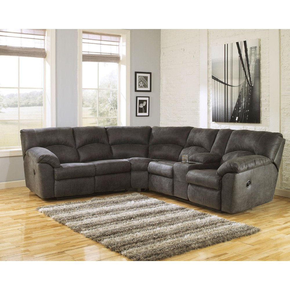 ... Gray 2 Piece Pewter Reclining Sectional   Tambo