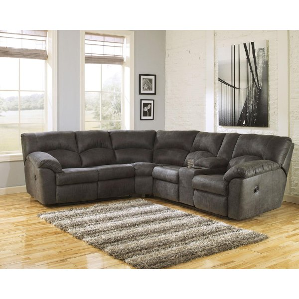 Gray 2 Piece Pewter Reclining Sectional Sofa Tambo