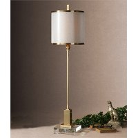 Brushed Brass Plated Metal Buffet Lamp with Crystal Foot