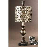 Aluminum & Wood Tone Buffet Table Lamp