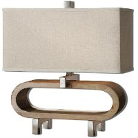 Wood Stained Base Table Lamp with Polished Chrome Details
