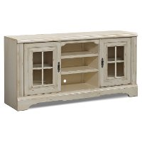 67 Inch Antique White TV Stand - Highland Manor