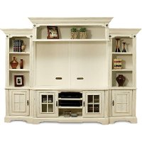 Antique White 5 Piece Vintage Entertainment Center - Highland Manor