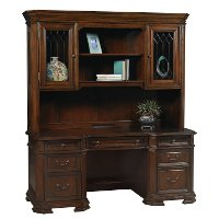 Classic Brown Office Desk and Hutch - Westchester