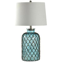 Blue Seeded Glass Table Lamp with Netting