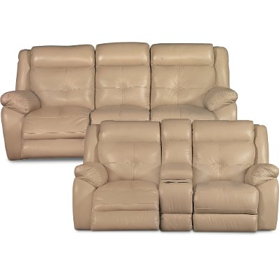 Tan Leather Match Manual Reclining Sofa U0026 Gliding Console Loveseat   Nuveau