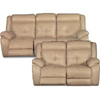 Tan Leather-Match Power Reclining Sofa & Loveseat - Nuveau