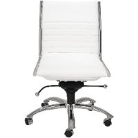 White Low-Back Office Chair - Dirk