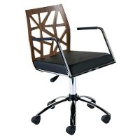 Walnut and Black Office Chair - Sophia