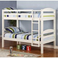 Contemporary White Twin-over-Twin Bunk Bed - Carolina
