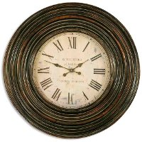 Burnished Brown Wooden Wall Clock
