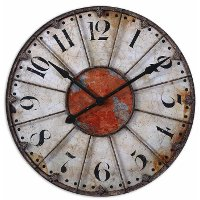 Ellsworth Distressed Ivory and Red Metal Wall Clock