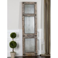 Heavily Distressed Slate Blue Leaner Mirror