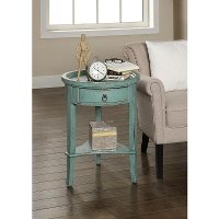 Round Teal Accent Table