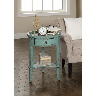 Round Teal Accent Table. Round Teal Accent Table   RC Willey Furniture Store