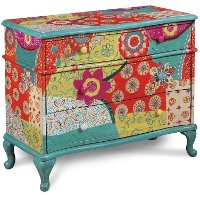 Multi Color 3 Drawer Patchwork Chest