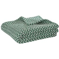 Twin Natural and Green Chevron Throw