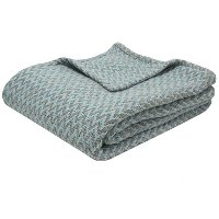 Twin Spa Blue and Gray Throw Blanket