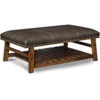 Brown Pinewood Accent Bench with Leather-Like Fabric