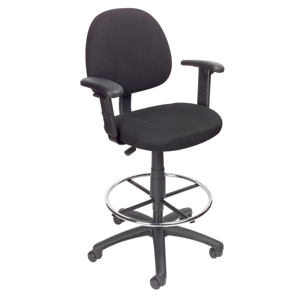 Black Contoured Adjustable Drafting Office Chair With Arms