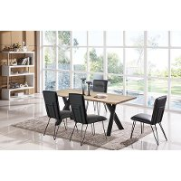 Charcoal and Metal 5 Piece Dining Set - Contemporary Live Edge