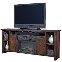 Rich Brown Wooden 85 Inch Fireplace TV Stand - Alder Grove