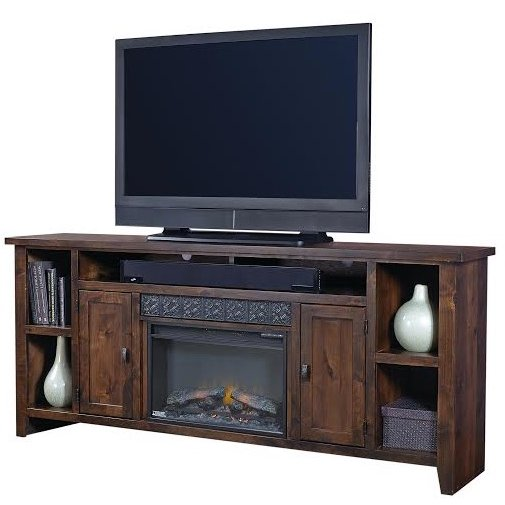 Rich Brown Wooden 85 Inch Fireplace Tv Stand Alder Grove