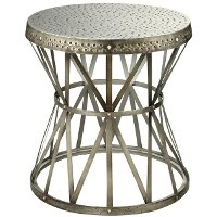 Hammered Top Antique Nickel Metal Accent Table
