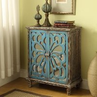Brown and Blue Floral Glass 2 Door Cabinet - Devale