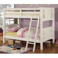 Classic White Twin-over-Twin Bunk Bed - Spring Creek