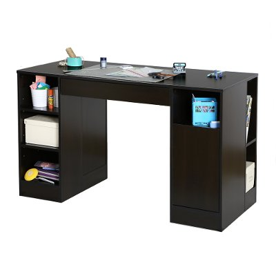 7559727 Black Counter Height Craft Table With Storage   Crea
