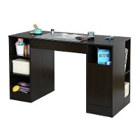 7559727 Black Counter Height Craft Table with Storage - Crea