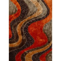 5 x 7 Medium Orange and Brown Area Rug - Viscose