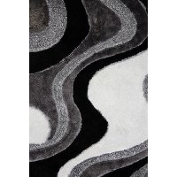 5 x 7 Medium Black and Gray Area Rug - Viscose