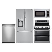 LG-SS-4PC-ELE-KIT LG 4 Piece Electric Kitchen Appliance Package with Double Oven Range - Stainless Steel