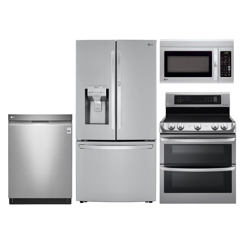 Lg 4 Piece Kitchen Liance Package With Electric Double Oven Range Stainless Steel Rc Willey Furniture