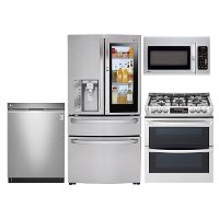 LG-SS-4PC-GAS-KIT LG 4 Piece Gas Kitchen Appliance Package with 29.7 cu. ft. French Door Refrigerator - Stainless Steel