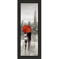New York Stroll Red Umbrella Framed Wall Art