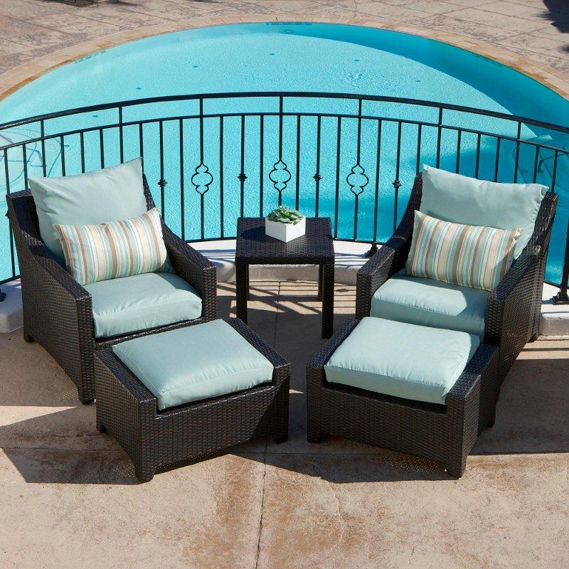 Wicker 5 Piece Outdoor Patio Furniture Set - Deco