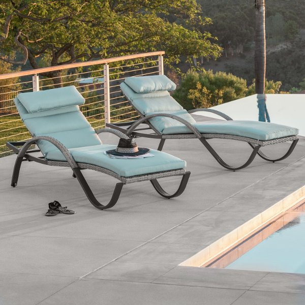 Navy Blue Outdoor Patio Chaise Lounge   Baylands29999 OP PEAL2 CNS BLS K  Set Of 2 Light Blue Outdoor Chaise