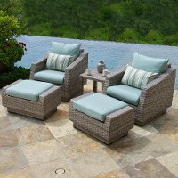 OP-PECLB5-CNS-BLS-K 5 Piece Outdoor Wicker Chair and Ottoman Set - Cannes