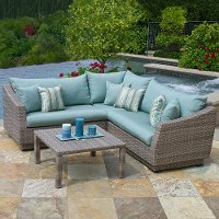 OP-PESS4-CNS-BLS-K Blue 4 Piece Wicker Outdoor Sectional - Cannes