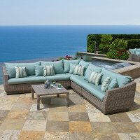 OP-PESS6-CNS-BLS-K 6 Piece Wicker Sectional and Table Set - Cannes
